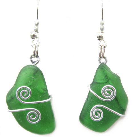 Scottish Sea Glass Earrings - Emerald Green with Celtic Swirls (No. 1352)