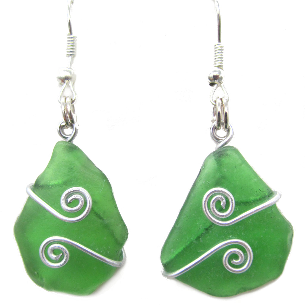 Scottish Sea Glass Earrings - Emerald Green with Celtic Swirls (No. 1354)