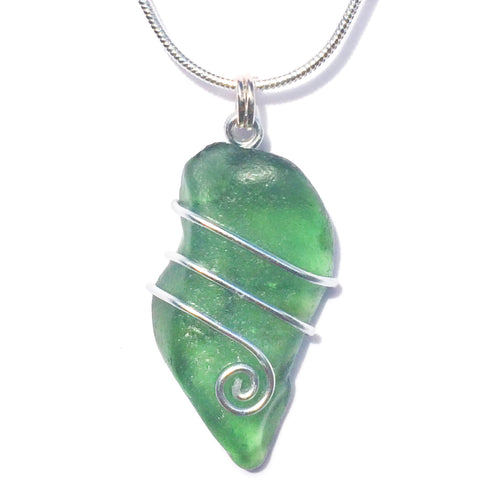 Olive Green Scottish Sea Glass Celtic Swirl Pendant Necklace (No. 1357)