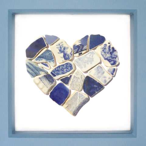 Antique Blue & White Sea Pottery Love Heart - Large Beach Collage Picture (No. 1370)