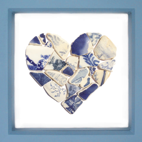 Antique Blue & White Sea Pottery Love Heart - Large Beach Collage Picture (No. 1371)