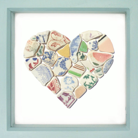 Antique Multicoloured Sea Pottery Love Heart - Large Beach Collage Picture (No. 1372)
