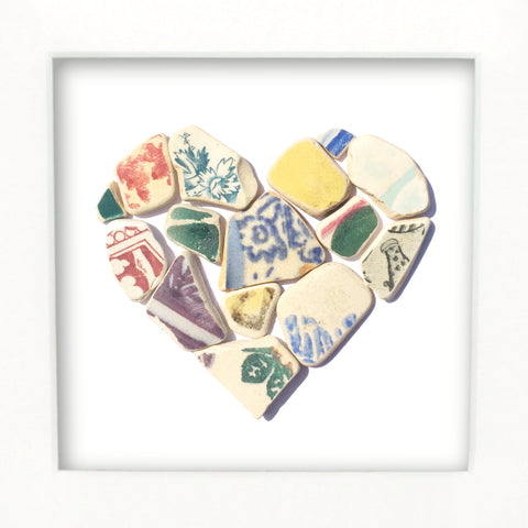 Antique Multicoloured Sea Pottery Love Heart - Medium Beach Collage Picture (No. 1373)
