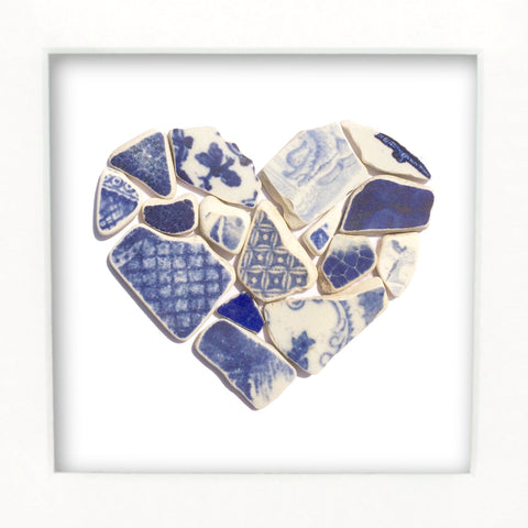 Antique Blue & White Sea Pottery Love Heart - Medium Beach Collage Picture (No. 1374)