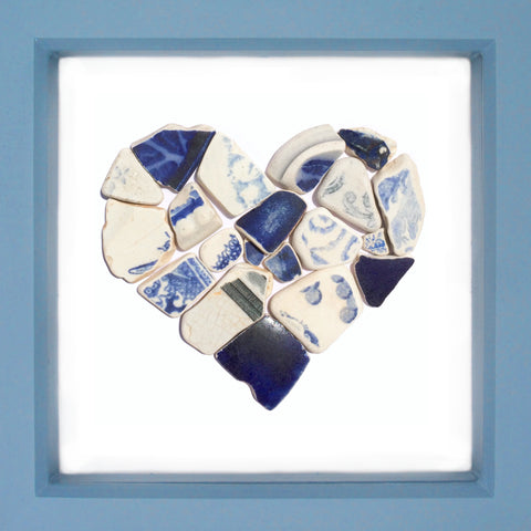 Antique Navy Blue & White Sea Pottery Love Heart - Large Beach Collage Picture (No. 1375)