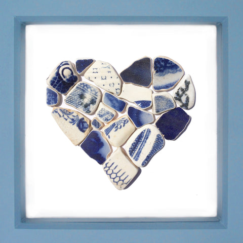Antique Navy Blue & White Sea Pottery Love Heart - Large Beach Collage Picture (No. 1376)