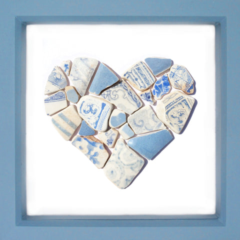 Antique Sky Blue & White Sea Pottery Love Heart - Large Beach Collage Picture (No. 1377)