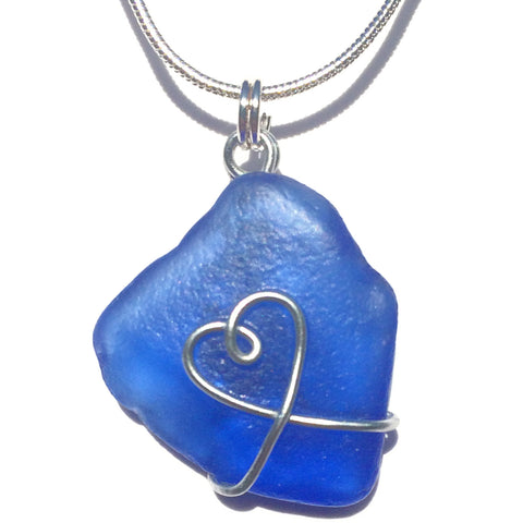 Rare Cobalt Blue Scottish Sea Glass Love Heart Pendant Necklace (No. 1385)