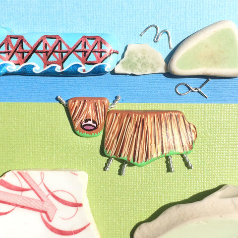 Highland Cow & Forth Rail Bridge - Hand-Painted Beach Pebble Art Picture (No. 1386)