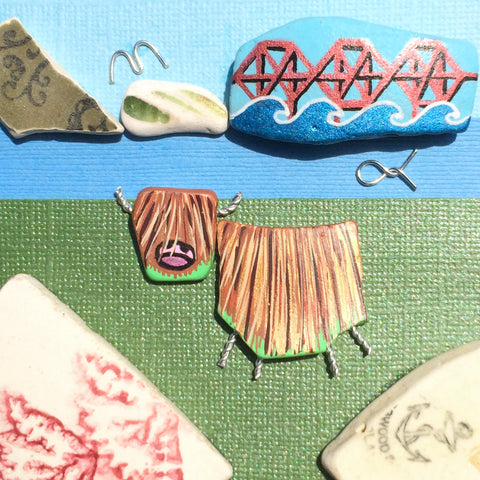 Highland Cow & Forth Rail Bridge - Hand-Painted Beach Pebble Art Picture (No. 1387)