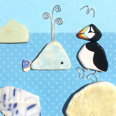Puffin & Pottery Whale - Hand-Painted Beach Pebble Art Picture (No. 1388)