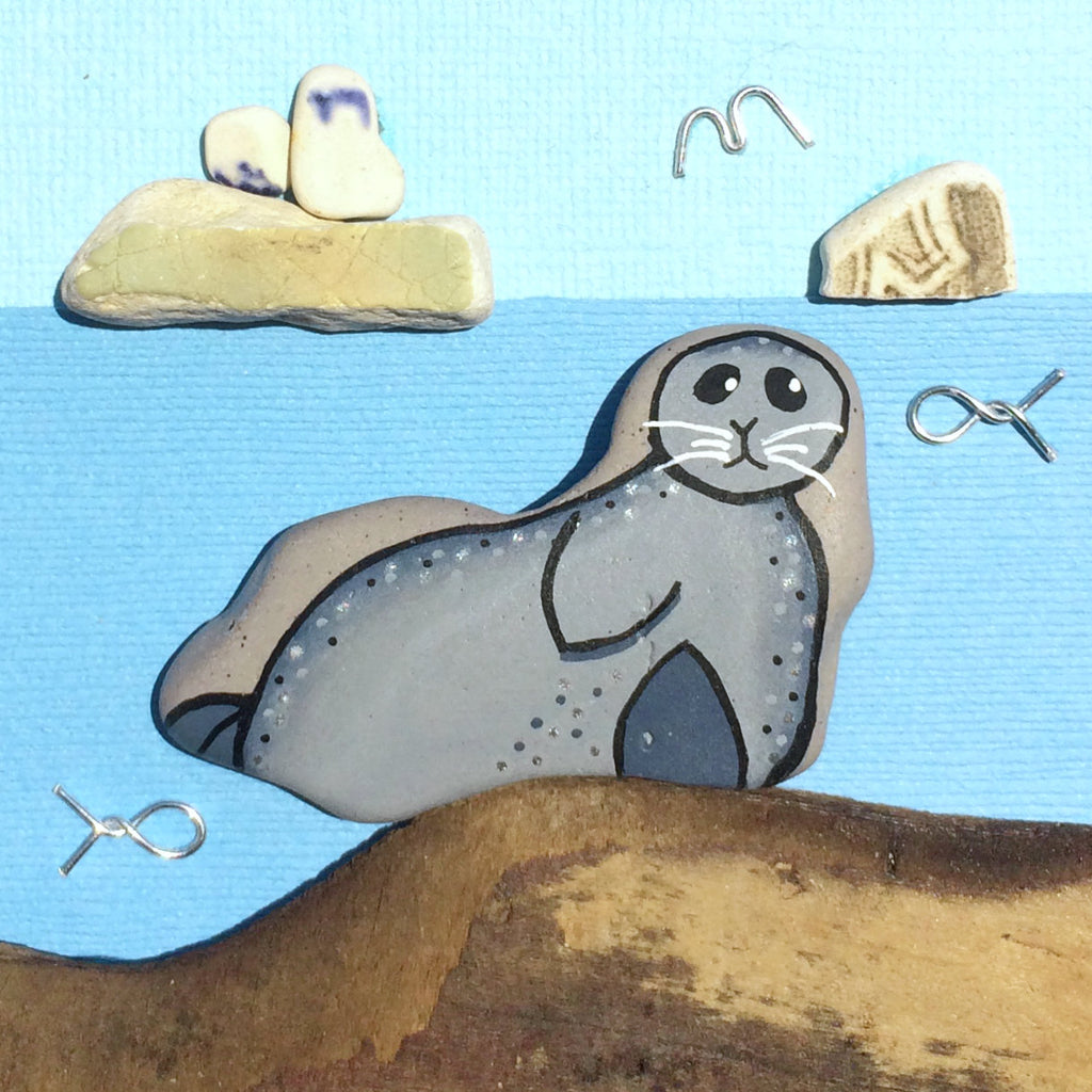 Seal, Isle of May & Bass Rock - Hand-Painted Beach Pebble Art Picture (No. 1389)