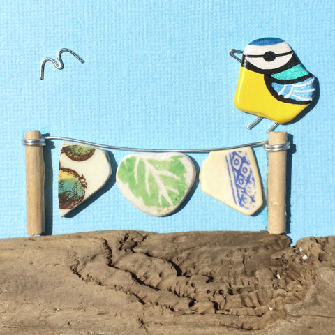 Blue Tit & Washing Line - Hand-Painted Beach Pebble Art Picture (No. 1390)