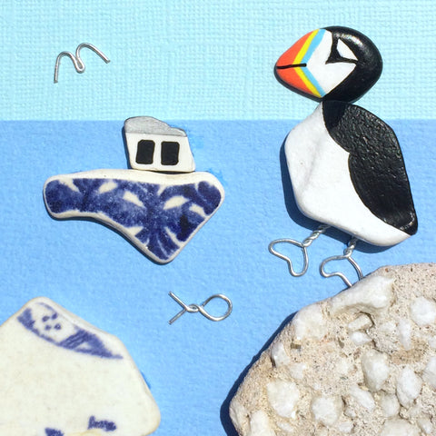 Puffin & Fishing Boat - Hand-Painted Beach Pebble Art Picture (No. 1392)