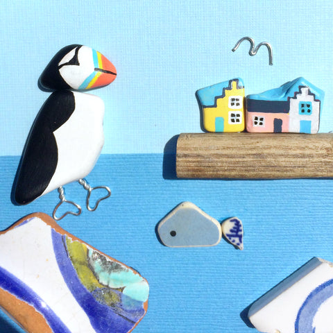 Puffin, East Neuk Cottages & Fish - Hand-Painted Beach Pebble Art Picture (No. 1393)