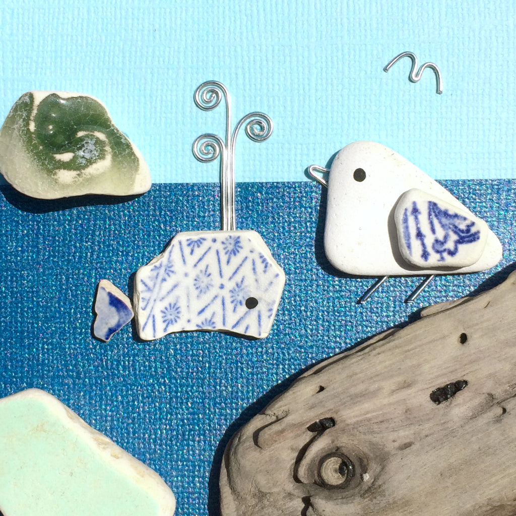 Seagull & Pottery Whale - Beach Driftwood & Pebble Art Picture (No. 1394)
