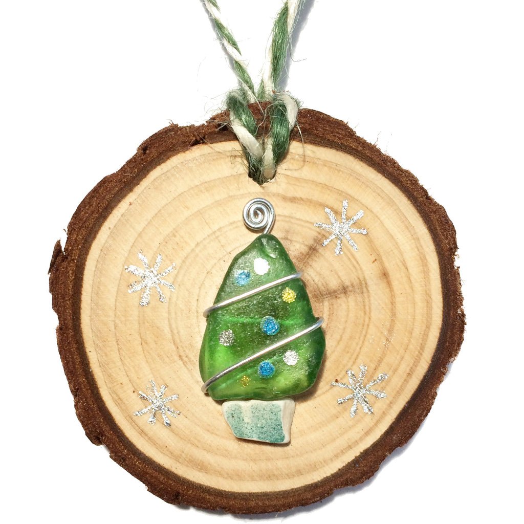 Green Sea Glass & Beach Pottery Christmas Tree Decoration (1398)