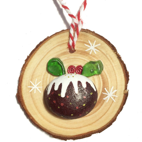 Sea Glass & Pebble Christmas Pudding - Tree Decoration (1404)