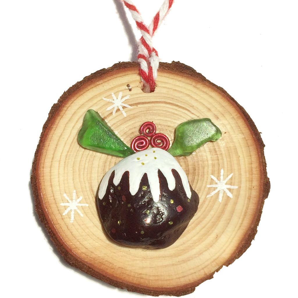 Sea Glass & Pebble Christmas Pudding - Tree Decoration (1406)