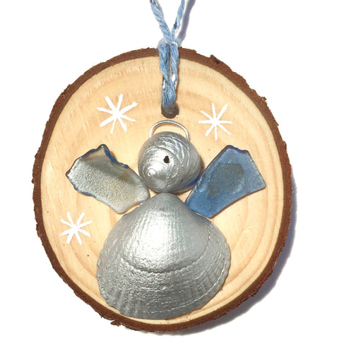 Angel - Cockle & Whelk Shell & Blue Sea Glass Christmas Tree Decoration (1418)