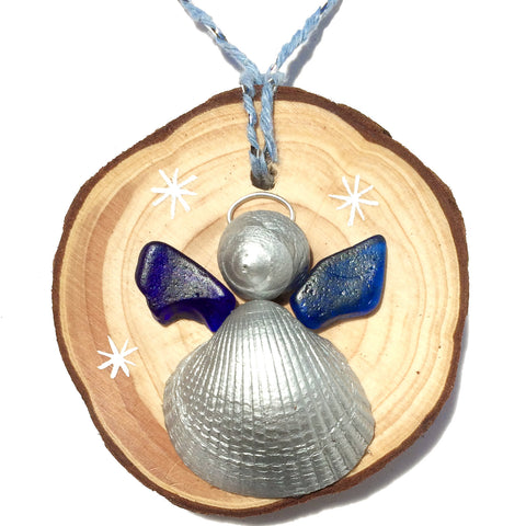 Angel - Cockle & Whelk Shell & Blue Sea Glass Christmas Tree Decoration (1419)