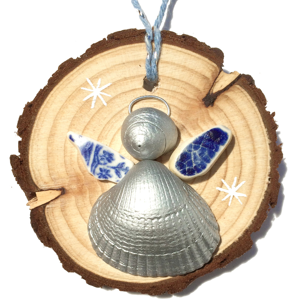 Angel - Cockle & Whelk Silver Shell & Sea Pottery Christmas Tree Decoration (1421)