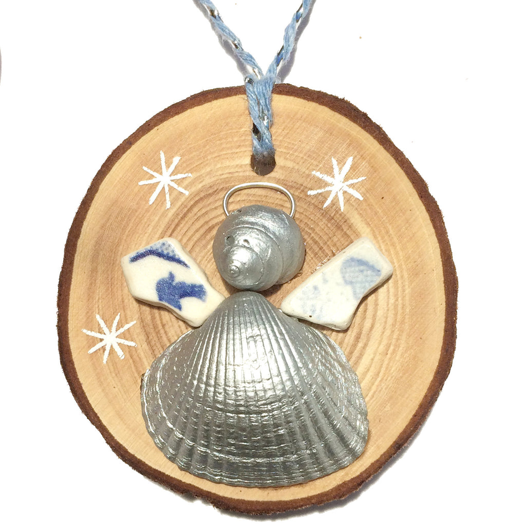 Angel - Cockle & Whelk Silver Shell & Sea Pottery Christmas Tree Decoration (1422)