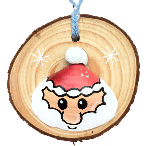 Santa - Hand-Painted Sea Shell Christmas Tree Decoration (1441)