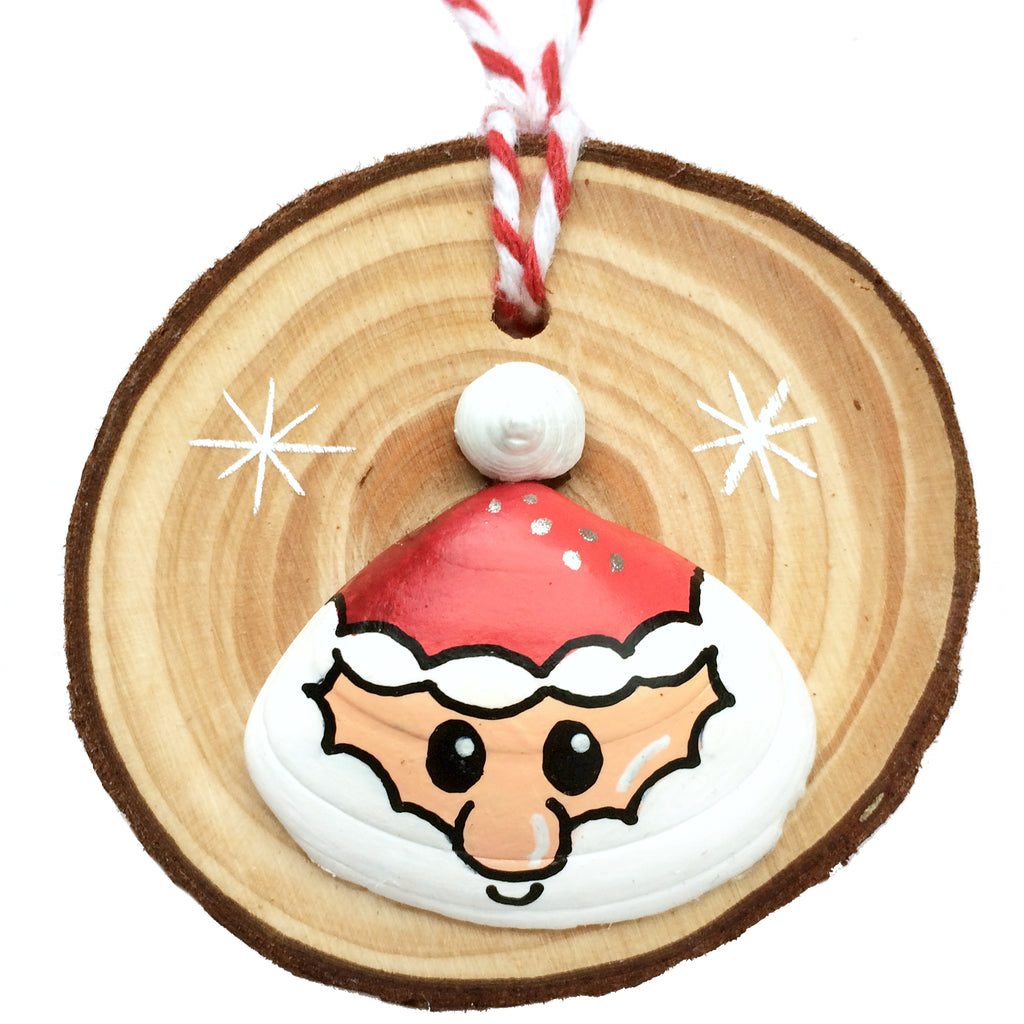 Santa - Hand-Painted Sea Shell Christmas Tree Decoration (1442)