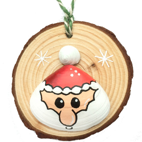 Santa - Hand-Painted Sea Shell Christmas Tree Decoration (1443)