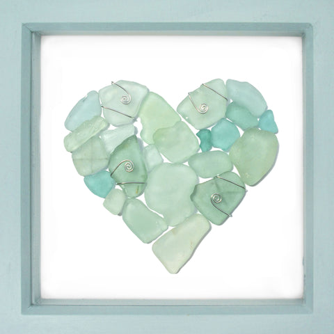 Pale Green Scottish Sea Glass Love Heart - Framed Beach Collage (No. 1458)