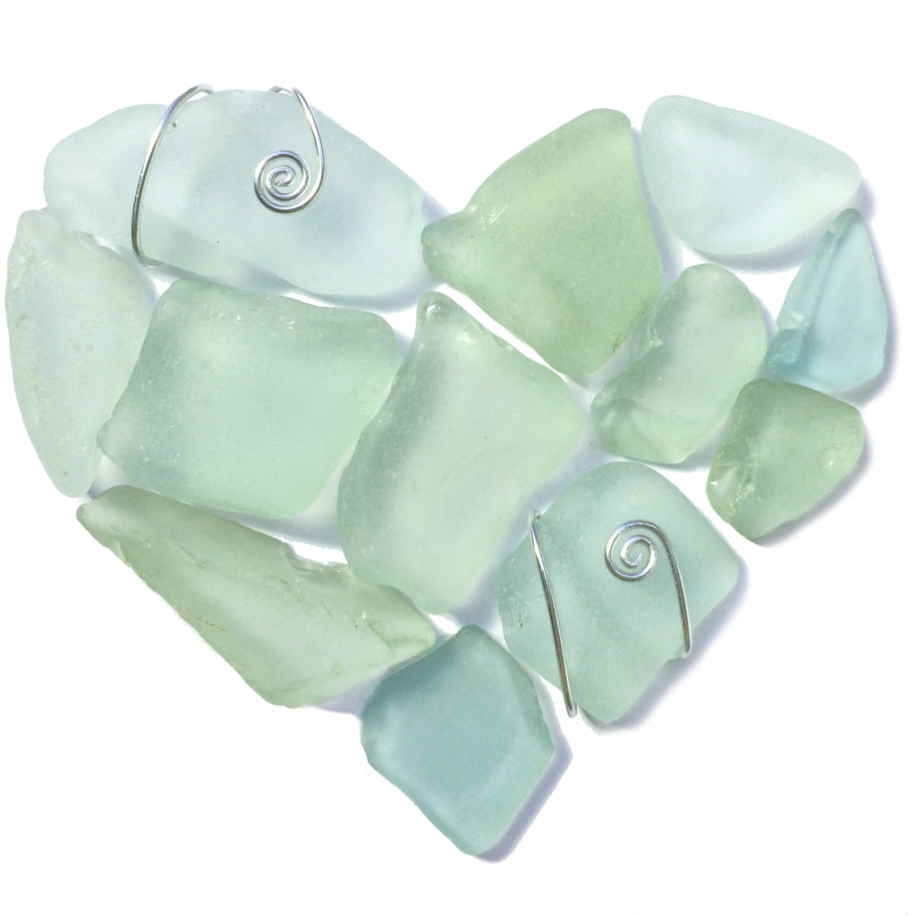Pale Green Scottish Sea Glass Love Heart - Framed Beach Collage (No. 1469)