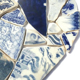 Antique Blue & White Sea Pottery Love Heart - Large Beach Collage Picture (No. 1471)