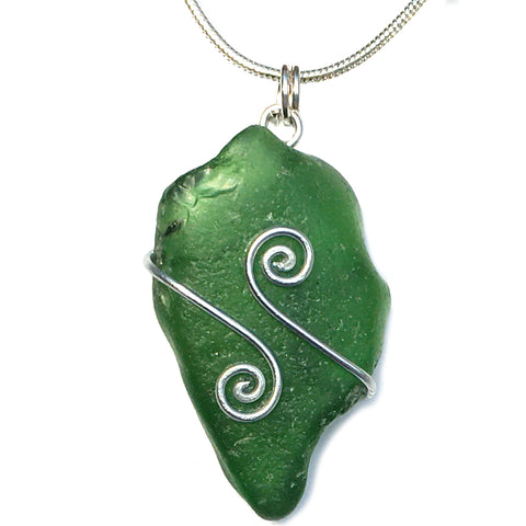 Emerald Green Scottish Sea Glass Celtic Swirl Pendant Necklace (1476)
