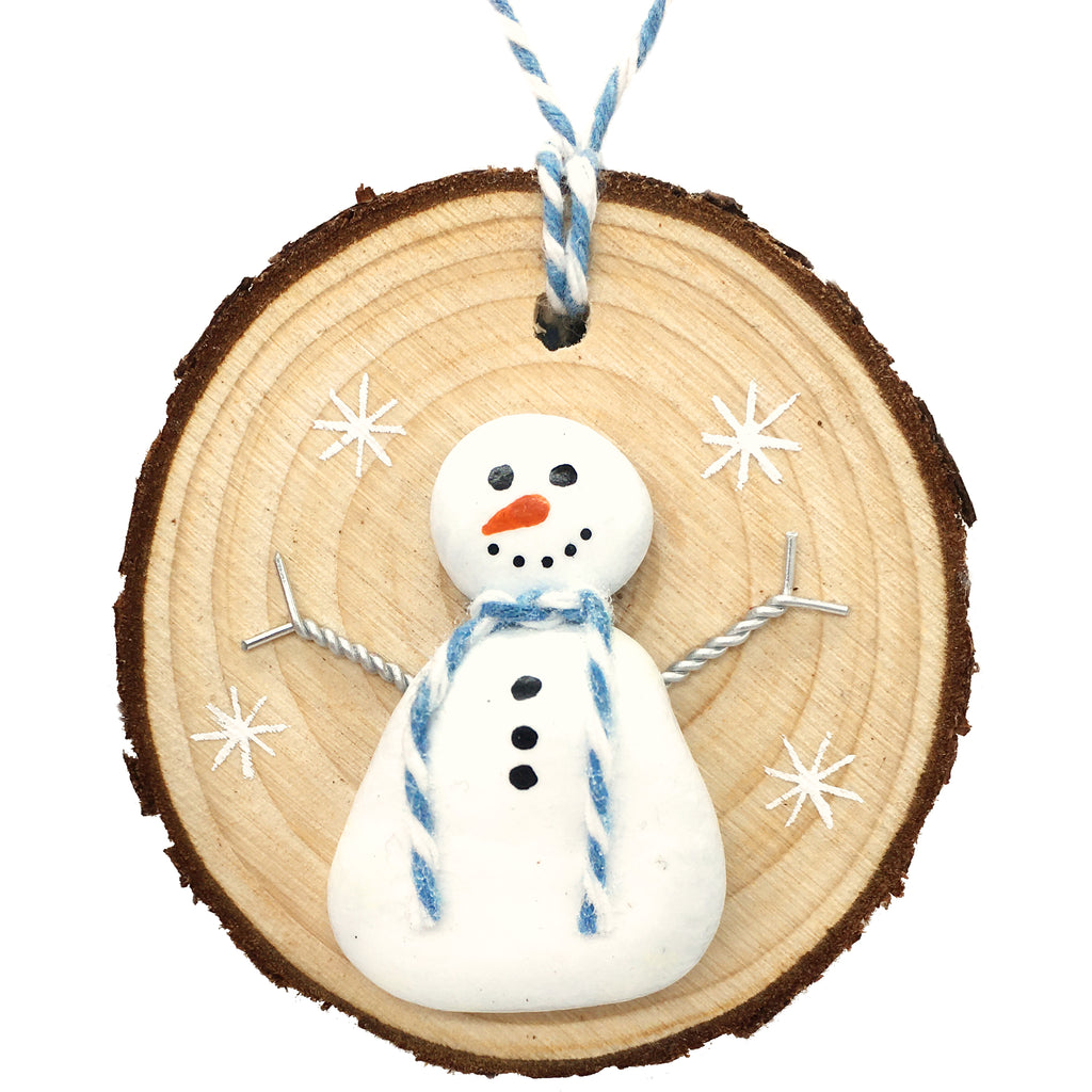 Snowman - Beach Pebble Hand-Painted Christmas Tree Decoration (1477)