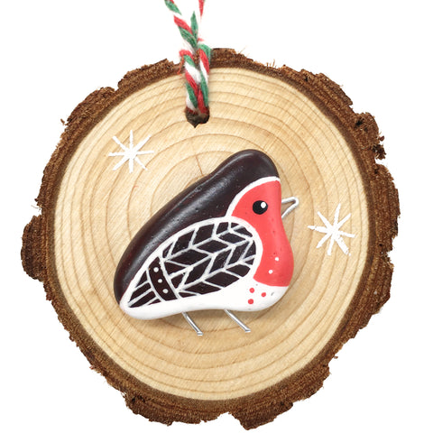Robin - Hand-Painted Beach Pebble Christmas Tree Decoration (1483)
