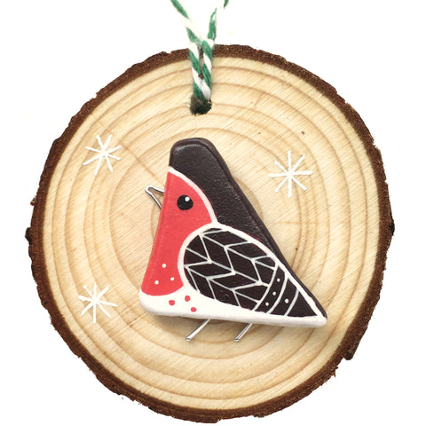 Robin - Hand-Painted Beach Pebble Christmas Tree Decoration (1484)