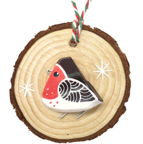 Robin - Hand-Painted Beach Pebble Christmas Tree Decoration (1485)