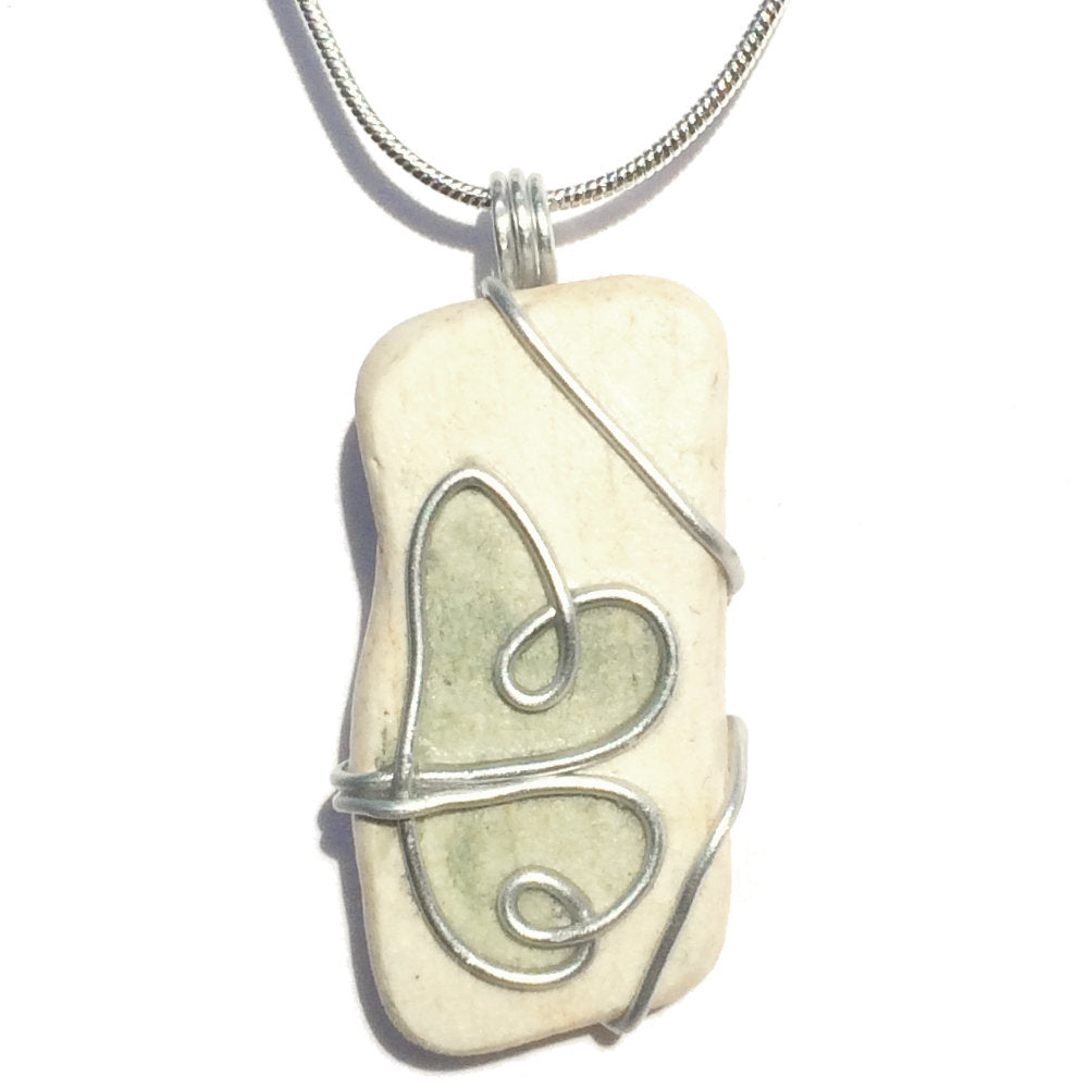 Green & Cream Double Heart Antique Beach Pottery Pendant Necklace (No. 148)