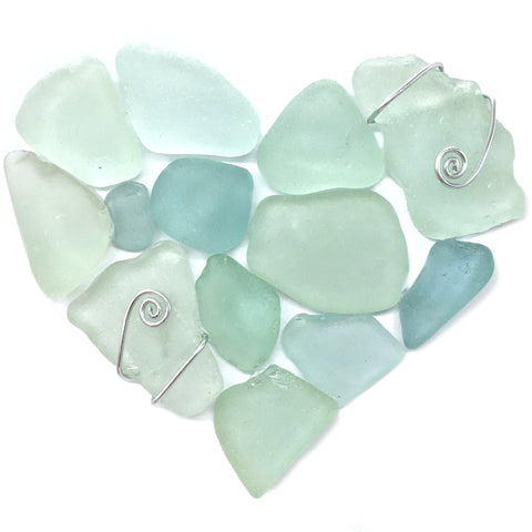 Pale Green Scottish Sea Glass Love Heart - Framed Beach Collage (No. 1497)