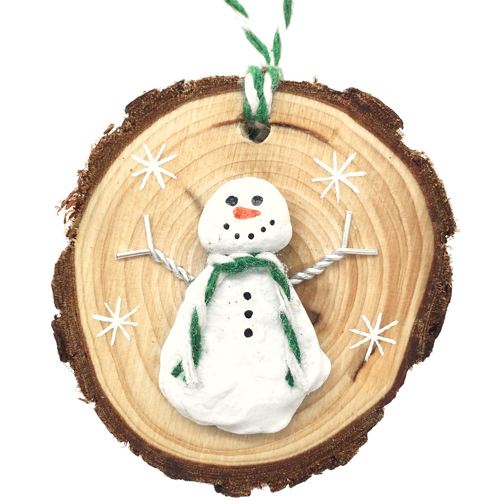 Snowman - Beach Pebble Hand-Painted Christmas Tree Decoration (1525)