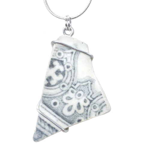 Grey & Cream Antique Beach China - Wire Wrapped Pendant Necklace (1530)