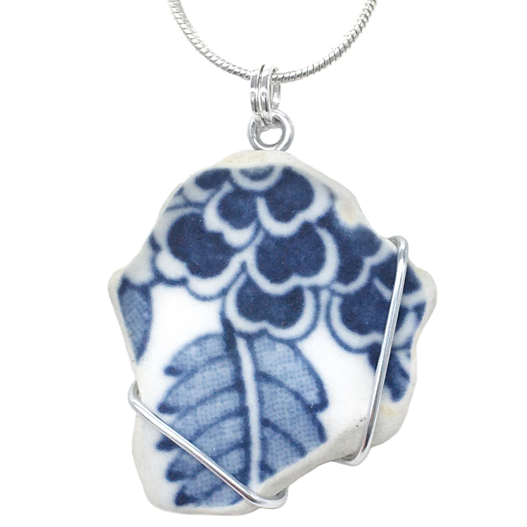 Blue Floral Antique Beach China Pottery - Wire Wrapped Pendant Necklace (1532)