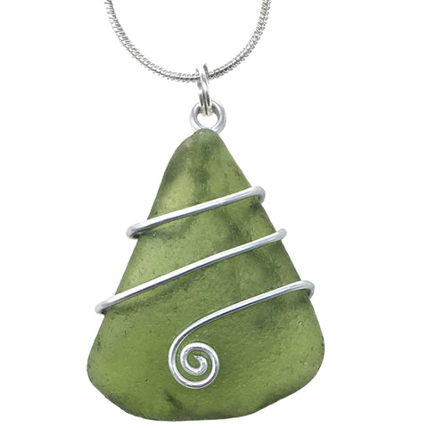 Olive Green Scottish Sea Glass - Celtic Swirl Wire-Wrapped Pendant Necklace (1546)