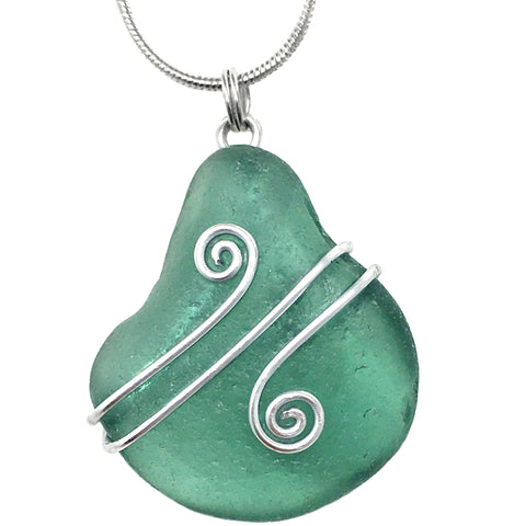 Teal Green Scottish Sea Glass - Celtic Swirl Wire-Wrapped Pendant Necklace (1548)