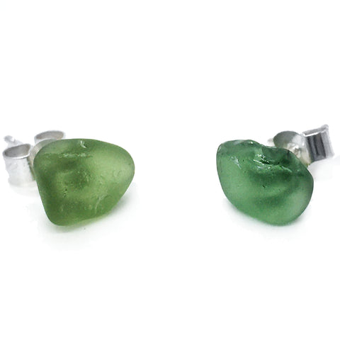 Seaglass Stud Earrings - Olive Green Scottish Sea Glass Jewellery (1551)