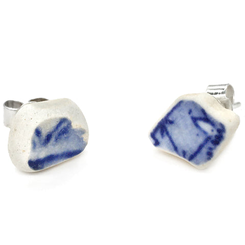 Antique Beach Pottery Stud Earrings - Blue & White Sea China Jewellery (1556)