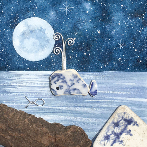 Beach Pottery Whale by Moonlight - Framed Original Watercolour Picture (No. 1573)