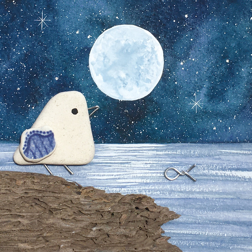 Beach Pottery Seagull by Moonlight - Framed Original Watercolour Picture (No. 1575)
