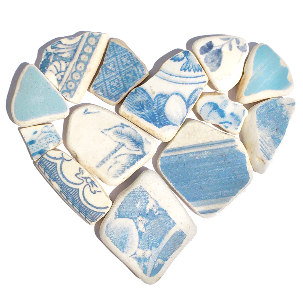 Antique Sky Blue & White Sea Pottery Love Heart - Framed Beach Collage Picture (No. 1584)